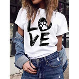 LOVE Imprimir em torno do pescoço de manga curta Casual T-shirts For Women
