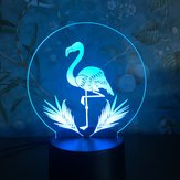 3D Night Light Touch Colorful Flamingo LED Tabla Lámpara Regalo de cumpleaños