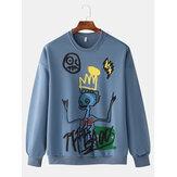 Heren Sweatshirt met ronde hals en grappige graffiti-opdruk