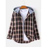 Mens Tartan Button Up Long Sleeve Casual Loose Drawstring Hooded Jacket