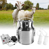 Keçi için 14L Elektrikli Sağım Makinesi 110 / 220V Titreşimli Sağım Makinesi Paslanmaz Çelik Sütçü Kova Çiftliği Hayvancılık Parçalar