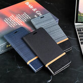 Bakeey for POCO M3 Case Canvas Pattern Flip with Folding Stand Card Slot Lens Protector PU Leather Full Body Protective Case