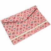Dossier A4 Floral joli à pois avec poche à fermeture à pression organisateur de documents poche de fichier en tissu pour bureau scolaire