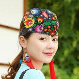 Women Manual Vintage Embroidery Hallow Ethnic Style Flower Printing Headband
