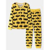 Halloween Vrouwen Allover Cartoon Vleermuis Print V-hals Lange Mouw Top Trekkoord Jogger Broek Thuis Pyjama Set