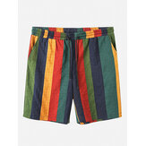 Banggood Designed Mens Cotton Breathable Colorful Striped Drawstring Casual Shorts