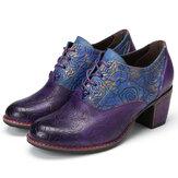GRACOSY escarpins en cuir pour femmes en cuir Oxford chaussures habillées rétro à la main Floral chaussures à talons moyens