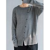 Damen Lässige Pullover mit Rundhalsausschnitt und vorderer Taste