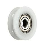 8Pcs 5x24x7mm U Notch Nylon Round Pulley Wheel Roller For 3.8mm Rope Ball Bearing