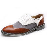 Homens Brogue Colorblock Oxfords Lace Up Business Casual Sapatos Formais