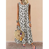 Daisy Print Crew Neck Sleeveless Holiday Casual Summer Maxi Dress