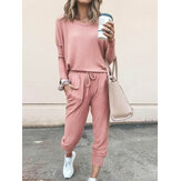 Tuta sportiva da donna in tinta unita da casa casual quotidiana da donna Set Pantaloni in due pezzi