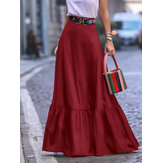 Solid Pleated Ruffle Hem Side Pockets Skirts For Women