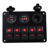 5 Gang Dual USB 12V On-Off LED Painel de interruptores Voltímetro Car Boat Marine RV Truck ON-OFF