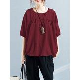 Damska bluzka z okrągłym dekoltem i luźnym karczkiem