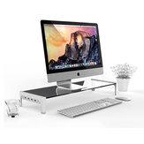 Monitorstandaard Riser Laptopstandaard Computer Desktopopslag met 3 poorten USB 2.0 en 1 snellaadpoort