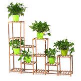 Multi-Tier Wooden Flower Pot Stand Indoor Outdoor Garden Plant Shelf Flower Succulent Storage Shelves Rack Display