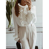 Lace Patchwork Ruffle Collar Puff Sleeve Elegant Blouse
