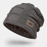 Men Plus velvet Winter Outdoor Keep Warm Small Label Decoration Knitted Hat Beanie
