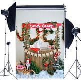 5x7FT Weihnachtsbaum Schnee Lichter Flaggen Konserven Candy Fotografie Hintergrund Studio Prop Hintergrund