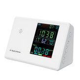 LCD Display Air Quality Detector Portable HCHO TVOC CO2 PM2.5 PM10 Tester Thermo-hygrometer Alarm Clock