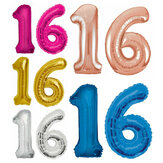 Large Birthday Party Number 16 Foil Balloon Helium Air Decoration