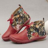 LOSTISY Flowers Padrão Botas para tornozelo de costura de cor sólida redonda e confortável com cordões