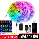 5M / 10M 3528 SMD RGB LED Strip Light Sync Music Control Nevodotěsné String Lamp + 44Keys IR Remote Controller