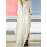 Women Brief V-neck Side Split Cotton Maxi Dress