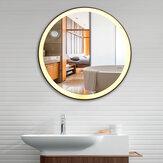 Tri-color Electrodeless Regulável LED Lâmpada Rodada Ferro Forjado Banheiro Espelho