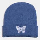 Bordado borboleta unissex de lã quente elástica casual desenho animado Padrão malha Chapéu gorro sem aba