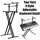 2-Tiers X Style Adjustable Keyboard Stand Folding Electronic Music Piano Holder