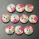 10pcs 18 millimetri fiore rotondo in legno stampato pulsante colorato mestiere artigianato di cucito fai da te abiti decorazione