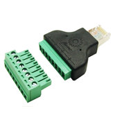 Excellway® RJ45 Adaptador de rede 8P8C Crystal Head para 8PIN Terminal Rj45 para Screw Term Block Adapter