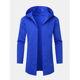Mens Blue Open Front Long Sleeve Hooded Cardigans