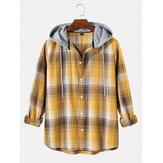 Mens Simple Plaid Drawstring Hooded Long Sleeve Casual Shirts