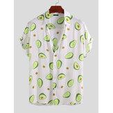 Mens Avocado Printed Summer Hawaiian Style Casual Vacation Fashion Shirts