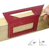 Aleación de aluminio rojo Carpintería Scriber T Regla Multifuncional Ángulo de ángulo de regla de grado de 45/90 Grados Manómetro