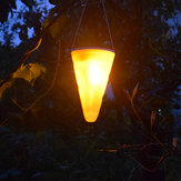Solar Power Light Sensor Cone Shaped Hanging Flash Flame Light Waterproof for Outdoor Garden Decor