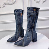 Women Casual Side Zipper Pointed Toe Chunky Heel Mid-calf Denim Cloth Boots