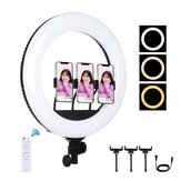 PULUZ PU521B 18 Inch Curved Surface USB Dimmable White Light LED Ring Photography Lights with Remote Control and 3 pcs Phone Clamps