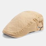 Mens Cotton Bordado Pintor Beret ajustável respirável Caps Casual viseira ao ar livre frente Chapéu