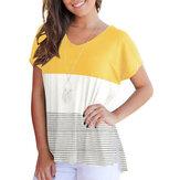 女性カジュアルストライプパッチワーククルーネックTシャツ