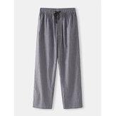 Mens Stripe Drawstring Pocket Home Casual Pajamas Pants