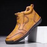 Botas de tornozelo masculinas com costura à mão em microfibra e com zíper lateral antiderrapante confortável
