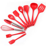 10pcs Utensils Spatula Shovel Soup Spoon Heat-resistant Design Silicone Kitchen Cooking Tools Set