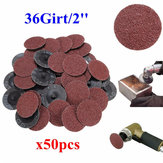 50pcs 36 Grit 2 Inch 50mm Roll Lock Sanding Discs Abrasive Tool for Dremel