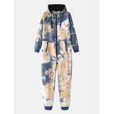 Pamuklu Erkek Batik Kapşonlu Ev Tulum Cepli Pijama