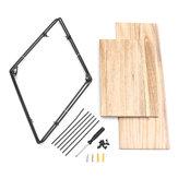 50x50x19cm Retro Rhombus Wood Iron Craft Wall Shelf Rack Storage Industrial Style Decorations