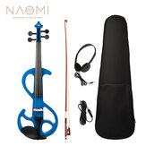 NAOMI Full Size 4/4 Violin Electric Violin Fiddle Maple Body Fingerboard Pegs Chin Rest with Bow Case